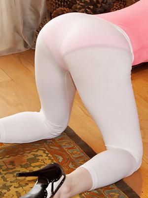 Transparent white leggings