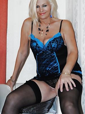 Platinum Blonde dressed in blue lingerie